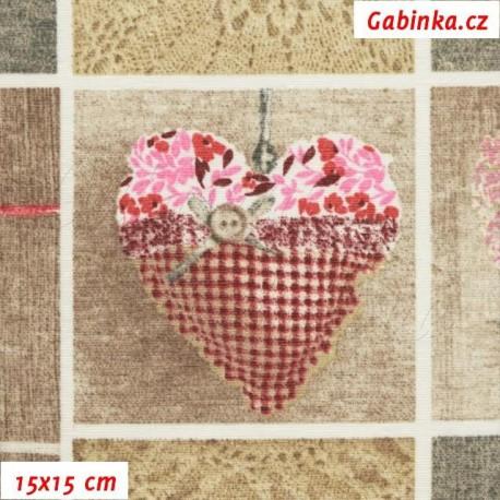 Režné plátno - Loneta - Srdíčka růžová, 15x15 cm
