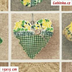 Režné plátno - Loneta - Srdíčka zelená, šíře 138 cm, 10 cm