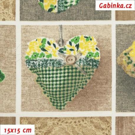 Režné plátno - Loneta - Srdíčka zelená, 15x15 cm