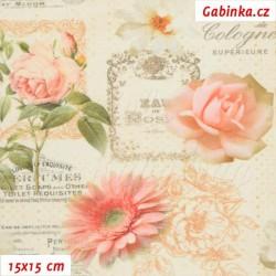 Látka, plátno - STOF - Rose Perfumes, Digitální tisk, šíře 160 cm, 10 cm