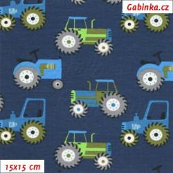 Látka úplet s EL - Traktory na tm. modré, 15x15 cm
