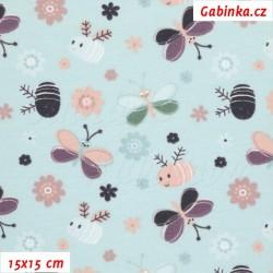 Úplet s EL - Motýlci a včeličky na bledě zelené, 15x15 cm