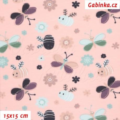 Úplet s EL - Motýlci a včeličky na růžové, šíře 150 cm, 10 cm