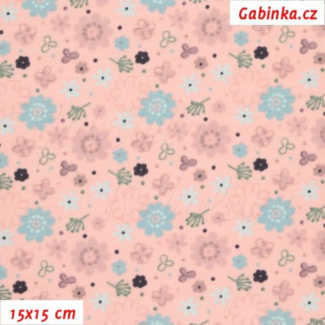 Úplet s EL - Barevné kytičky na růžové, 15x15 cm