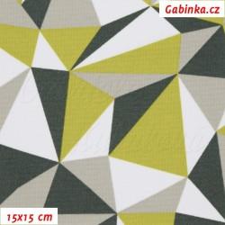 Kočárkovina MAT, Trojúhelníky zelené bílé a šedé, šíře 160 cm, 10 cm, Atest 1