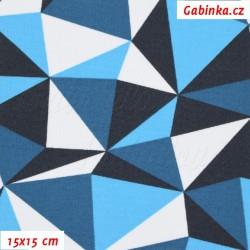 Kočárkovina MAT, Trojúhelníky tyrkysové, modré, bílé a černé, šíře 160 cm, 10 cm, Atest 1