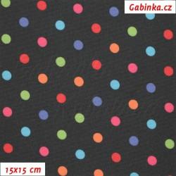 Kočárkovina LESK, Barevné puntíky na černé, šíře 160 cm, 10 cm