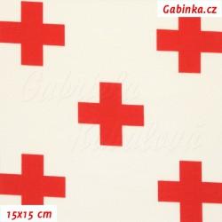 Látka úplet s EL - Červené kříže na smetanové, 15x15 cm