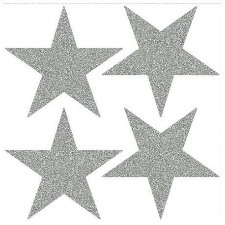 Reflexní nažehlovací potisk - Hvězdy ostré (4 ks)