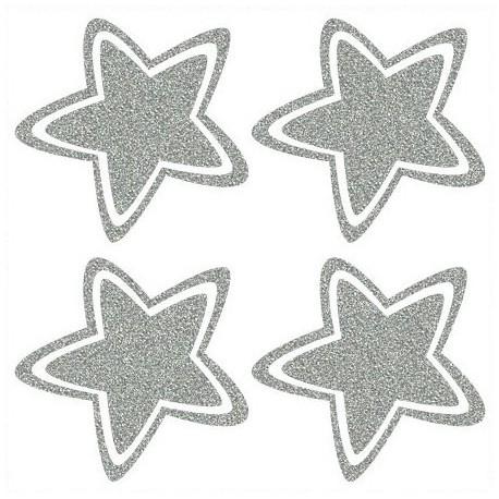 Reflexní nažehlovací potisk - Hvězdičky oblé (4ks)