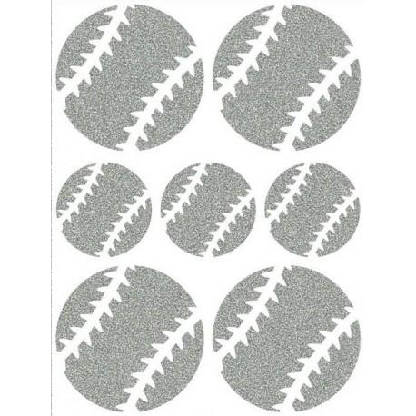 Reflexní nažehlovací potisk - Baseballové míče malé a velké (3+4 ks)