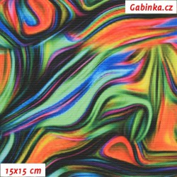 Kočárkovina Premium, Abstraktní malba zelenooranžová, šíře 155 cm, 10 cm