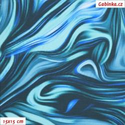 Kočárkovina Premium, Abstraktní malba modrá, šíře 155 cm, 10 cm