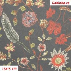 Koženka, Květiny na zelenošedé, DSOFT 103, šíře 135 cm, 10 cm