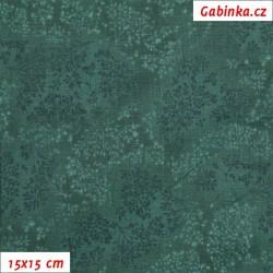 Látka, plátno - Bezové kvítí tmavě zelené, 15x15 cm