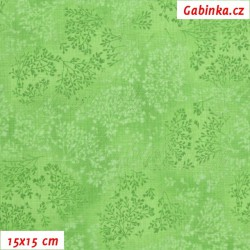 Látka, plátno - Bezové kvítí jasně zelené, 15x15 cm