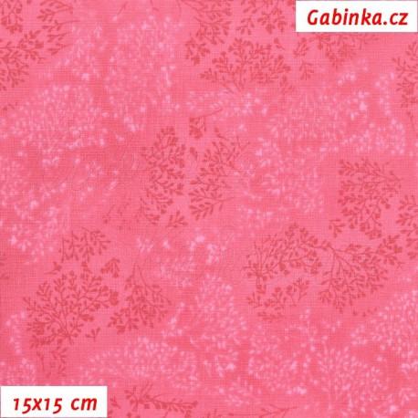 Látka, plátno - Bezové kvítí růžové, 15x15 cm