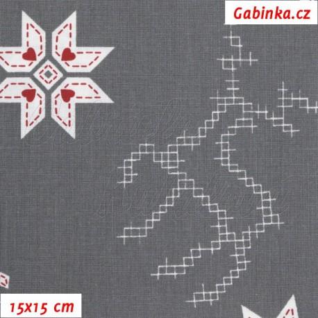 Plátno - Kolekce bordó, Sobi a kytičky na šedé, 15x15 cm