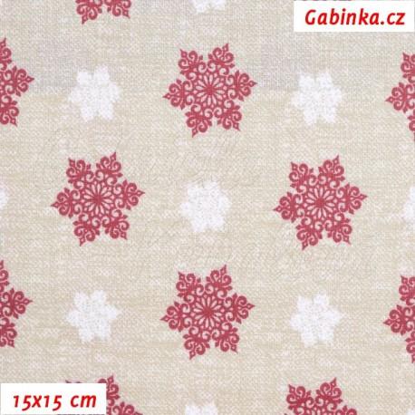 Plátno vánoční - Vločky velké bordó a malé bílé na režném potisku, 15x15 cm