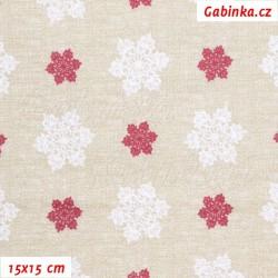 E-Plátno vánoční - Vločky velké bílé a malé bordó na režném potisku, šíře 140 cm, 10 cm