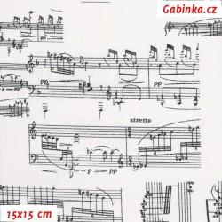 Látka, plátno - Notové partitury na smetanové, 15x15 cm