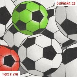 Látka, plátno - Malé fotbalové míče bílé červené modré a žluté, 15x15 cm