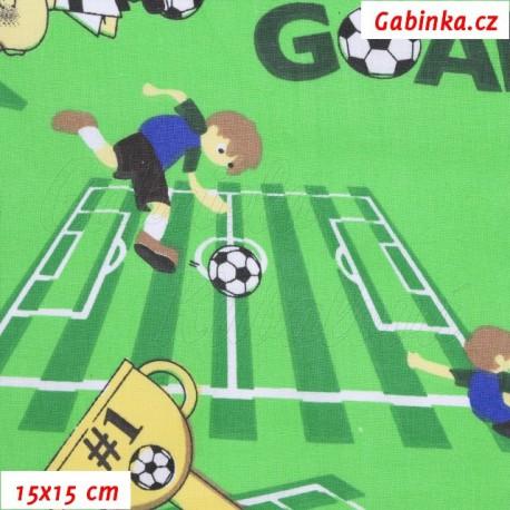 Látka, plátno - Fotbal na zelené, 15x15 cm