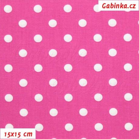 Plátno bavlna - Puntík 9mm bílý na růžovofialové, 15x15 cm
