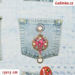 Plátno SOFT - vyšší gramáž, Riflové kapsy se šperky na sv. modré - digitální tisk, 15x15 cm