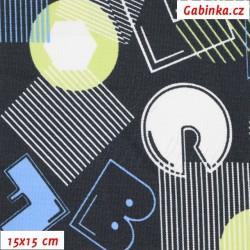 Kočárkovina MAT, Písmena a tvary na modré, šíře 160 cm, 10 cm, Atest 1