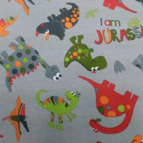 Látka úplet s EL - Dinosauři jurský park na šedé, ilustrační foto