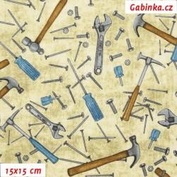 Plátno USA - QT Craftsman - Hřebíky a kladívka na smetanové, šíře 110 cm, 10 cm
