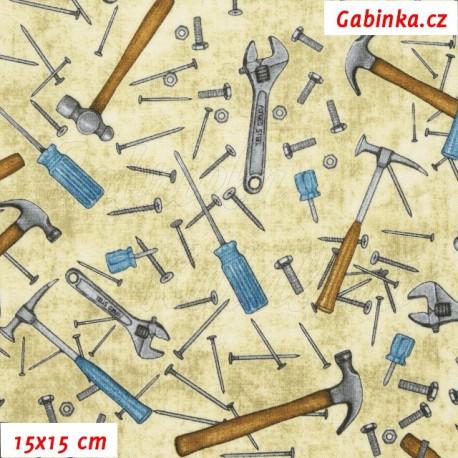 Plátno USA - Quilting Treasures - Craftsman - Hřebíky a kladívka na smetanové, 15x15 cm