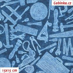 Plátno USA - QT Craftsman - Nářadí na modré, šíře 110 cm, 10 cm