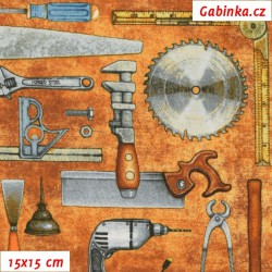 Plátno USA - QT Craftsman - Nářadí na oranžovohnědé, šíře 110 cm, 10 cm