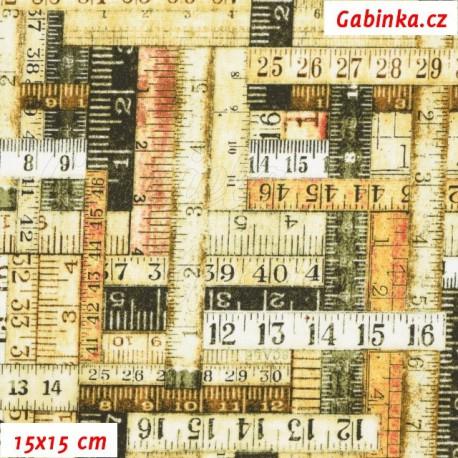 Plátno USA - Quilting Treasures - Craftsman - Metry do smetanova, 15x15 cm