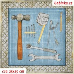 Plátno USA - QT Craftsman - Panely nářadí, šíře 110 cm, panel 60 cm