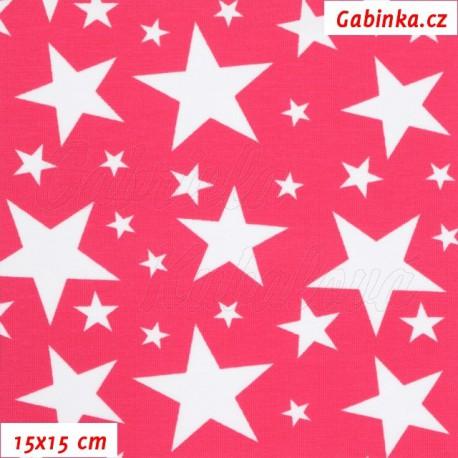 Látka úplet s EL - Bílé hvězdičky různě velké na růžové, 15x15 cm