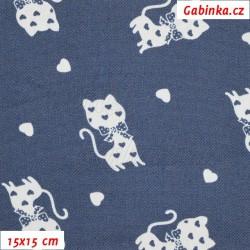 E - Riflovina, Bílé kočičky na modré, šíře 140 cm, 10 cm