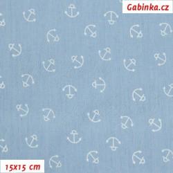 E - Riflovina - Bílé kotvičky na bledě modré, šíře 140 cm, 10 cm, 2. jakost