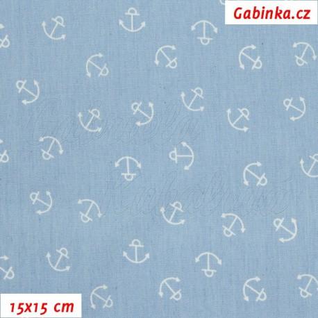 Riflovina - Bílé kotvičky na bledě modré, 15x15 cm