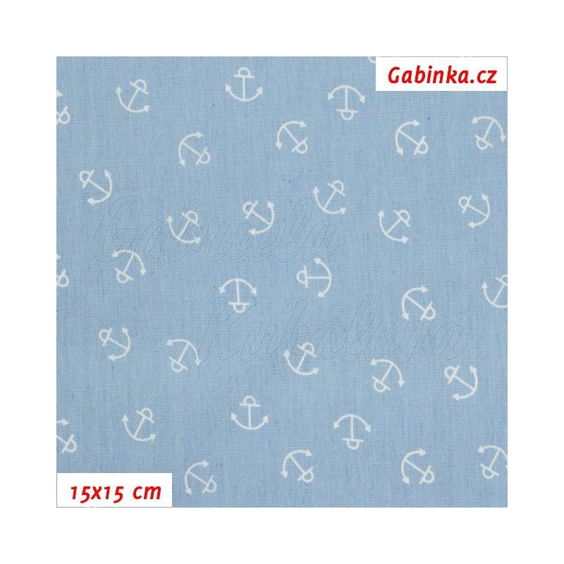 8a636e7cf9b7 Riflovina - Bílé kotvičky na bledě modré