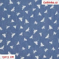 Riflovina - Bílé vážky na středně modré, šíře 140 cm, 10 cm