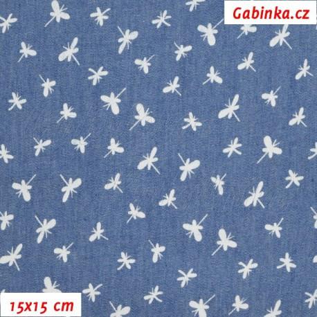 Riflovina - Bílé vážky na středně modré, 15x15 cm