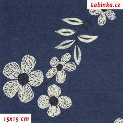 Riflovina - Velké květiny na tmavě modré, šíře 140 cm, 10 cm