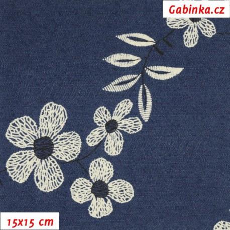 1c443cef7681 Riflovina - Velké květiny na tmavě modré