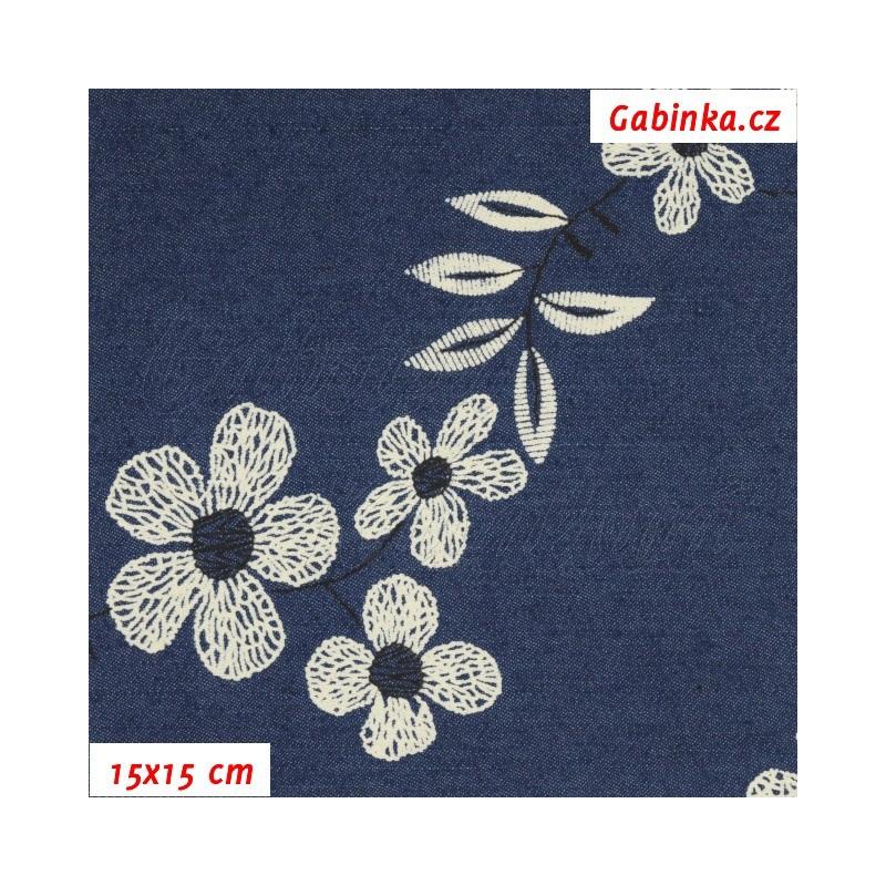 600fbd1bd86a Riflovina - Velké květiny na tmavě modré