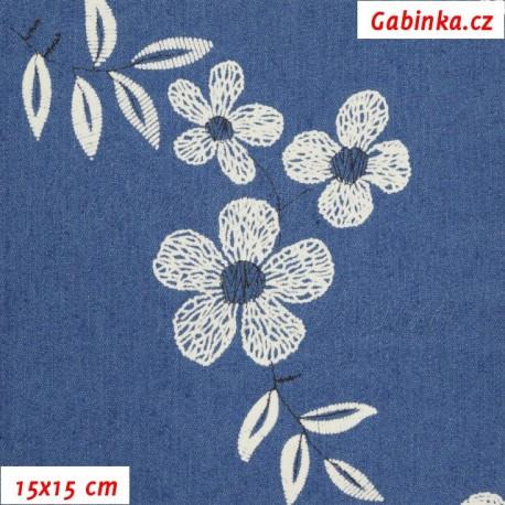 Riflovina - Velké květiny na středně modré, 15x15 cm