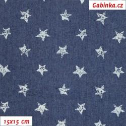 Riflovina BA/PES/EL - Hvězdičky na tmavě modré, šíře 140 cm, 10 cm, 2. jakost