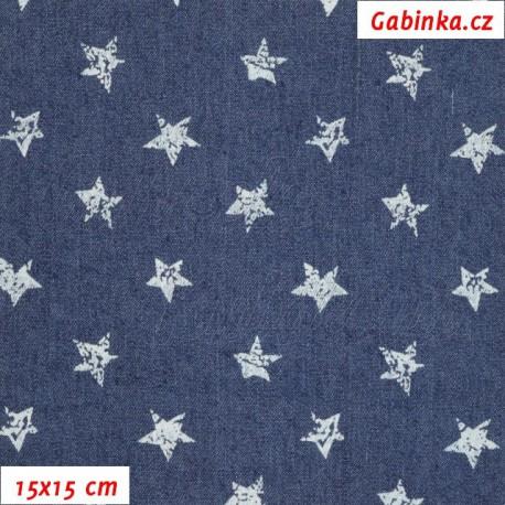 Riflovina - Hvězdičky na tmavě modré, 15x15 cm
